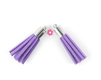 Purple suede tassel 2 x 35mm Silver (168D)