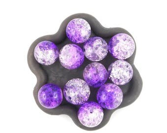 Purple and white Crackle Glass Bead 20 x 10mm (63C) transparent
