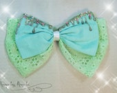 Drippy Double Bow - Sparkly Blue Green Bow