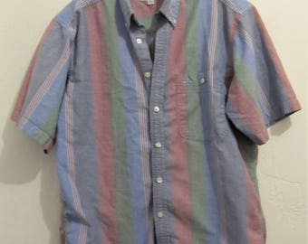 A Men's Vintage 80's,Striped Short Sleeve OXFORD Shirt By DOCKERS.M