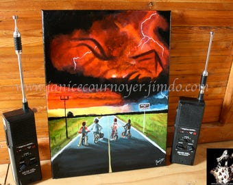 STRANGER THINGS (season 2) Netflix poster in acrylic painting 12X16'' by Janice Cournoyer