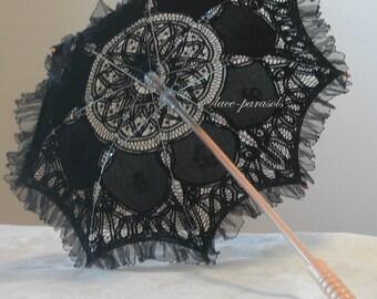 Black Lace Parasol w/Organza Lace