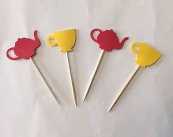 24 Assorted Teapot and tea cup Toothpicks, Tea Party Cupcake Toppers, Baby Shower, Tea party Theme, Appetizer Picks, Tea Party birthday