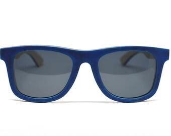 Blue Skateboard Wood Sunglasses Eco Sunglasses Wooden Sunglasses Bamboo Sunglasses Skate Wood Wooden Glasses Mens Womens Wayfarer