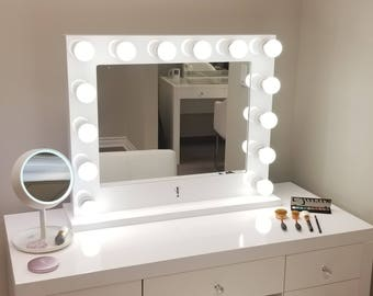 Vanity mirror etsy dimmable xl grand hollywood impact lighted vanity mirror free led bulbs w sliding dimmer aloadofball Choice Image