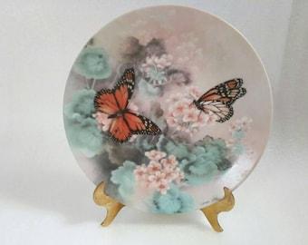 vintage monarch butterfly plate by lena liu