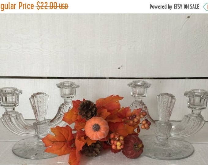 CLEARANCE Tiffin Glass Crystal Candelabra, Table Centerpiece, Wedding Centerpiece, Wedding Gift