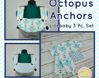 Pre-Order ** Octopus Anchors Lillebaby Carrier Headrest Bib w/ Straight Drool Pads, Fully Reversible 3 Pc. Set