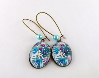 """Earrings sleepers pattern """"tropic blue"""" beads and Pearly blue and bronze"""