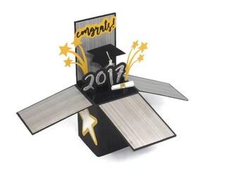 Graduation Pop Up Card, Handmade 3D Box Card, Congratulations, Grad Card, 2017 Grad, Silver & Black card with stars, Tassel Cap, Congrats