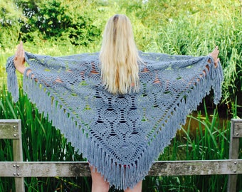 Crochet dark grey shawl