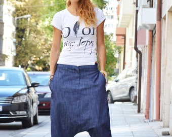 Casual Drop Crotch Blue Denim Pants, Loose Cotton Extravagant Pants, Low Bottom Harem Pants by SSDfashion