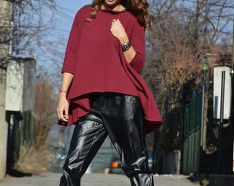 Winter Burgundy Loose Sweatshirt, Extravagant Tunic with Side Pockets, Asymmetric Oversize Cotton Tunic by SSDfashion