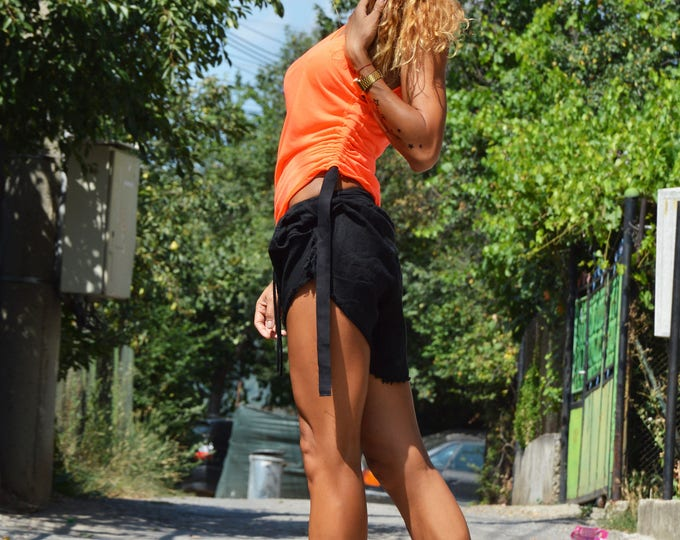 Orange Extravagant Tank Top, Soft Casual Oversize Top, Sexy Long Top, Top with regulating straps By SSDfashion