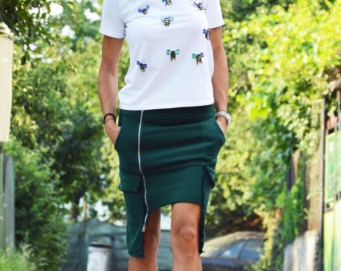 Extravagant Green Cotton Skirt, Asymmetric Skirt, Oversize Long Short Skirt, Summer Skirt, Loose Skirt by SSDfasion