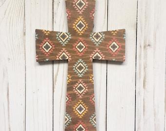 Southwest Decorative Wall Cross, Rustic Wood Crucifix, Colorful Aztec Nursery Cross, Personalized Southwest Crucifix, Navajo Wooden Cross