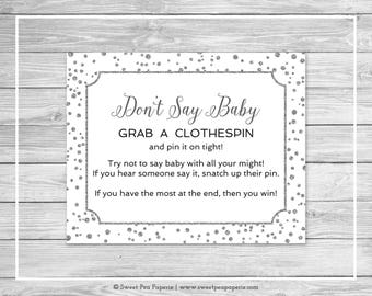 White and Silver Baby Shower Don't Say Baby Game - Printable Baby Shower Don't Say Baby Game - White Silver Confetti Baby Shower - SP154