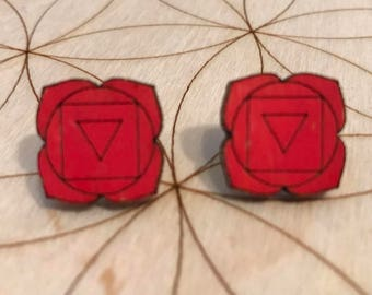 Root Chakra Wooden Stud Earrings - Painted or Natural - 1st Chakra - Red - Muladhara