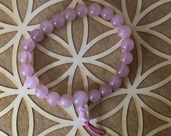Rose Quartz Power Bracelet - Rose Quartz Beaded Bracelet - 8mm Beads -  Heart Chakra - 4th Chakra - Self Love - Reiki - Energy Healing