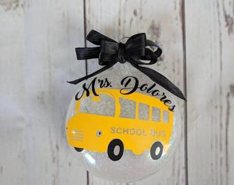 Bus driver ornament/ bus driver Christmas/ teacher ornament/ bus driver gift/ personalized bus driver gift