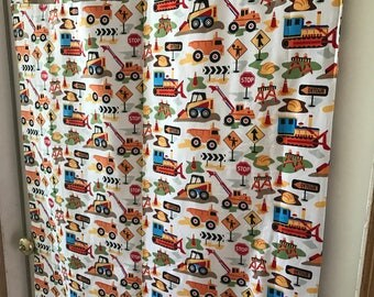Boys Room construction tab top curtain panels choose size