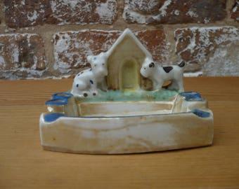 Ceramic Lusterware Ash Tray and Cigarette Holder