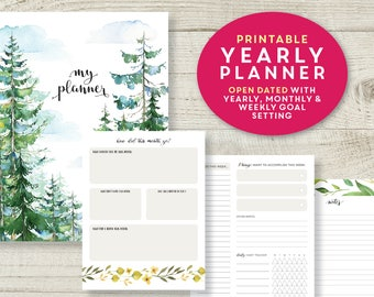 Monthly Planner Printable, Monthly Planner Kit, Printable Planner Inserts, Weekly Planner, Weekly Agenda, Productivity Planner, goal setting