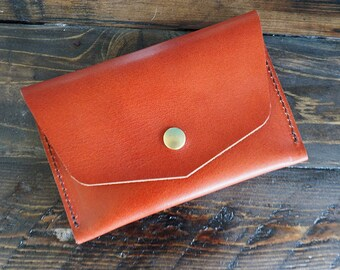 Leather Passport Wallet Envelope Wallet Leather Travel Card Wallet Handmade Travel Passport Wallet