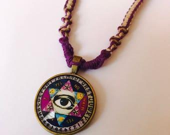 Ouiji Pendant on Handmade Hemp Necklace
