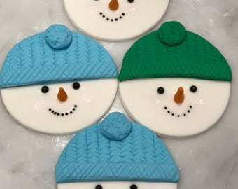 12 Adorable snowman cupcake toppers perfect for a holiday party ....!!!
