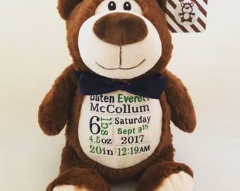 Bear, Personalized bear stuffed animal, Birth announcement stuffed animal, Birth stats, New baby gift, Personalized gift, Baby shower gift