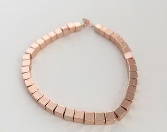 Rose Gold Cube Bracelet. Rose Gold bracelet. Rose Gold Beaded Bracelet. Rose Gold chunky beaded bracelet. Custom initial bracelet