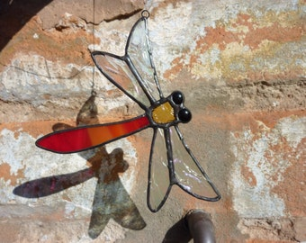 Stained glass Dragonfly suncatcher.Red dragonfly ornament.