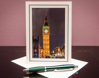 Big Ben Night-Greeting Card-Note Card-Travel-Home Office Decor-Matted Art Print-Gift-Photo-Art-London-UK-Architecture-Clock-Lights-Yellow