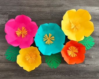 5 piece hawaiian themed paper flower set