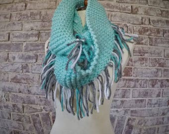 Three Options of Shades of Blue hand knit one of a kind soft scarves