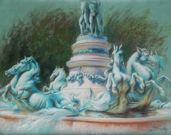 original pastel drawing of bronze horses, Paris, France