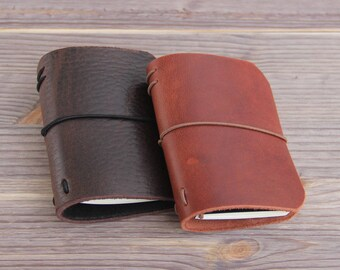 XS size. Genuine Leather Cover for Moleskine Notepad Volant Journal XS size. Cover Midori style traveler's notebook.