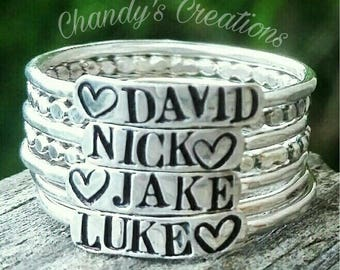 3mm Sterling Silver Stackable Name Rings, Stackable Mother's Rings, Layered Rings, Stackable Rings, Customized Rings, Name Rings Stackable