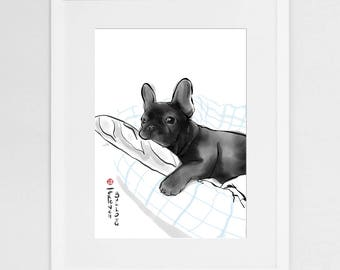 French Bulldog Art Poster, International Dog Sumi-e Painting Illustration,Asian France Zen Art Cute Summer Ink Drawing Lover