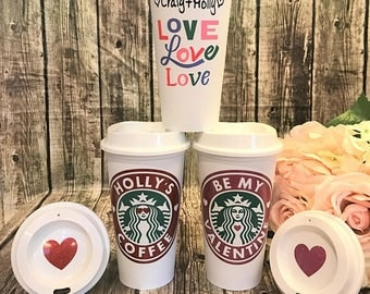 LIMITED EDITION Love Starbucks Cup •  Personalized Coffee Cup • Custom Coffee Mug •  [girlfriend gift, Valentines gift, gift for her]