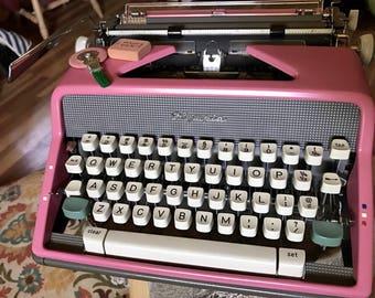 Pink Olympia SM7 Typewriter