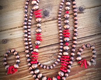 3 strand copper and red turquoise set