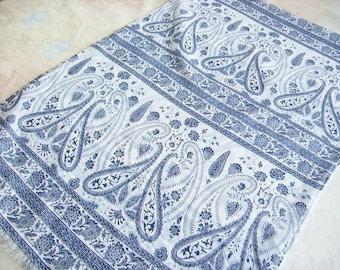 Fashion women scarf, shawl, scarf, shawl, tissue fluid and lightweight fabric, pattern swirls and stripes, blue on white background.