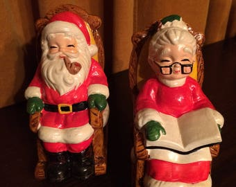Christmas, Santa, Mrs. Claus, Rocking Chair, piggy bank, handpainted, ceramic, 50's,  Collectibles, figurines