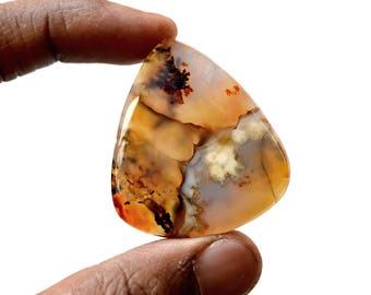 Montana Agate 80.5 Ct Triangle Shape beautiful Natural Gemstone Cabochon 43x38x6 MM R14342