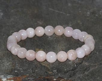 8mm Pink Madagascar Morganite Bracelet, Gemstone Bracelet, Heart Chakra Bracelet, Healing Bracelet, Calming Mala Jewelry, Women Bracelet