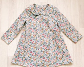TAYLOR Handmade Liberty of London Print Long Sleeve Dress with Peter Pan Collar Girls Tana Lawn