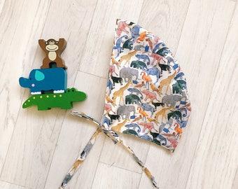 Boys Handmade Liberty of London BRIMLESS Baby Bonnet, Sun Hat