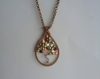 Pearl tree of life pendant